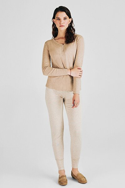 Kadın Beige Melange Pijama Takım  W1028