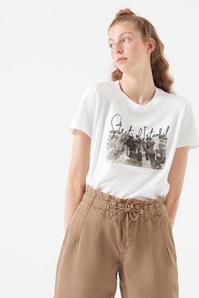 Kadın City İstanbul Baskılı Beyaz T-Shirt 168889-620