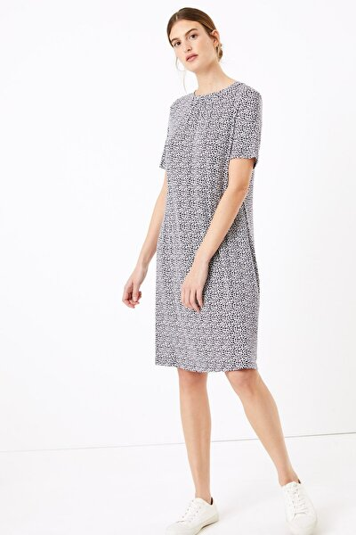 Kadın Lacivert Kısa Kollu Desenli Swing Elbise T42008384