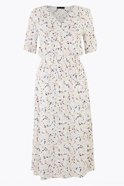 Kadın Bej Çiçek Desenli V Yaka Midi Elbise T42008367