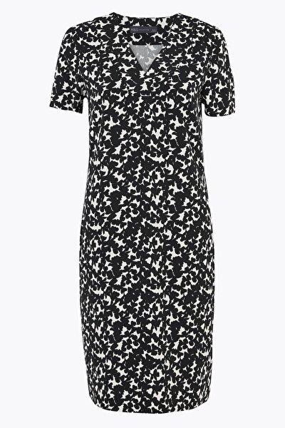 Kadın Siyah Çiçek Desenli Kısa Kollu Shift Elbise T42008373