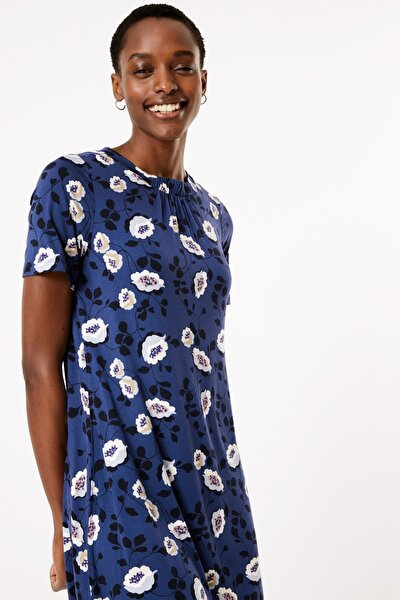 Kadın Mavi Çiçek Desenli Swing Elbise T42008382