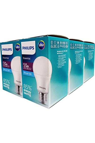 Essential Led Ampul 9w-60w Beyaz Işık E27 Normal Duy 6'lı Paket