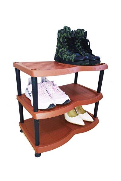 3 Katlı Plastik Ayakkabılık - Kahverengi