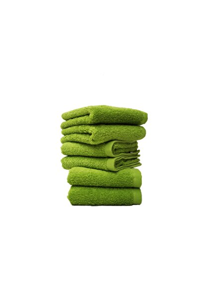 %100 Pamuk 30x50 6lı Havlu Seti Yeşil