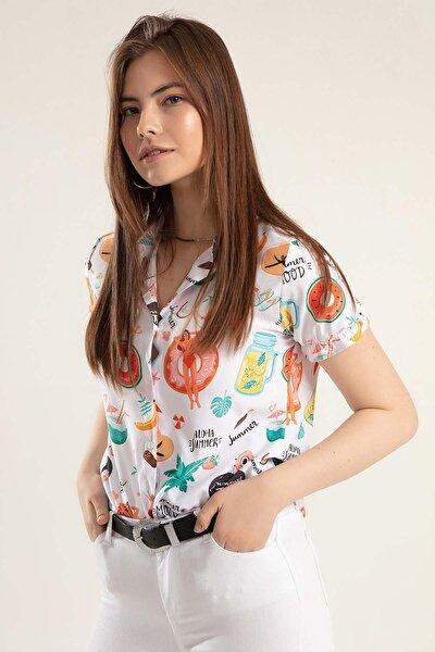 Kadın Beyaz Kısa Pileli Kollu Gömlek PTTY20S-501
