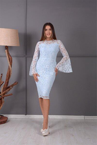 Koordine Güpür Tasarım Elbise - Buz Mavi