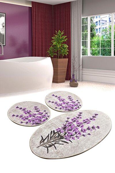 Lavender Djt 3 Lü Set Banyo Paspası Klozet Takımı