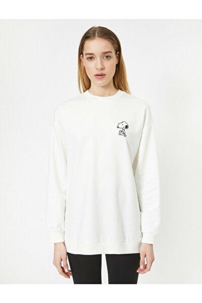 Snoopy Baskili Lisansli Uzun Sweatshirt