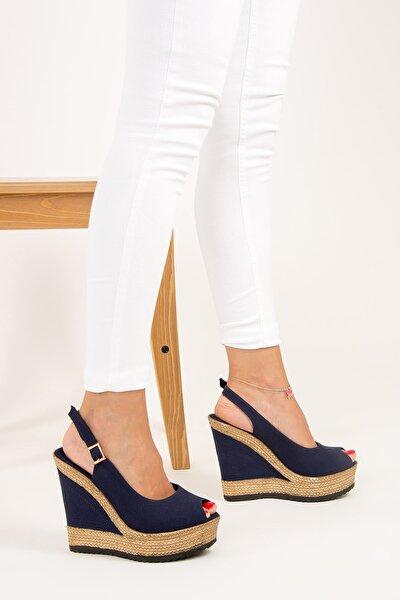 Lacivert Kadın Dolgu Topuklu Ayakkabı 9674070805