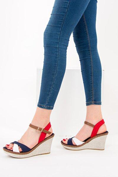 Lacivert Beyaz Kırmızı Kadın Dolgu Topuklu Ayakkabı 9674040205