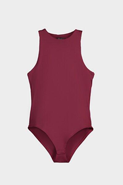 Vişne Rengi Çıtçıtlı Örme Body TWOSS20BD0044