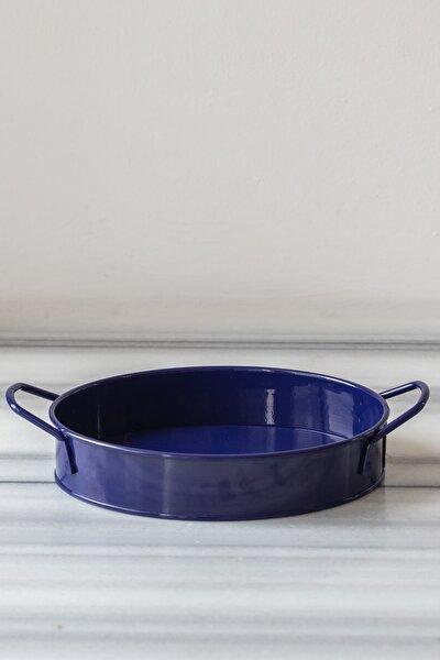 Galvaniz Lacivert Oval Tepsi - 21 cm.