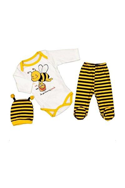 Arı Desenli 3lü 0-6 Ay Yenidoğan Bebek Pamuklu Body Badi Set