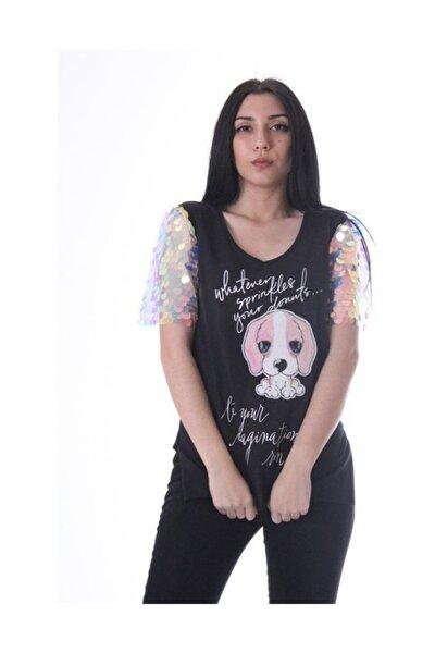 Kadın Beyaz Köpek Aksesuarlı Kolu Pullu T-Shirt - 3064