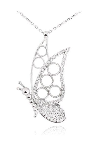 Taşlı Kelebek Gümüş Kadın Kolye cu59