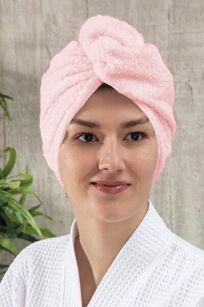 Düz Eponj Düğmeli Havlu Pembe Saç Kurulama Bonesi