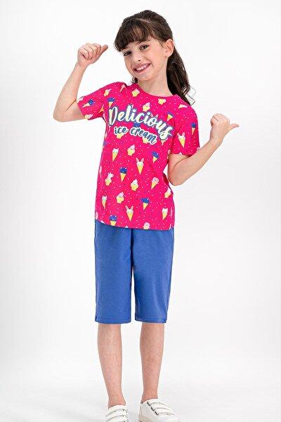 Delicius Ice Cream Fuşya Kız Çocuk Kapri Takım