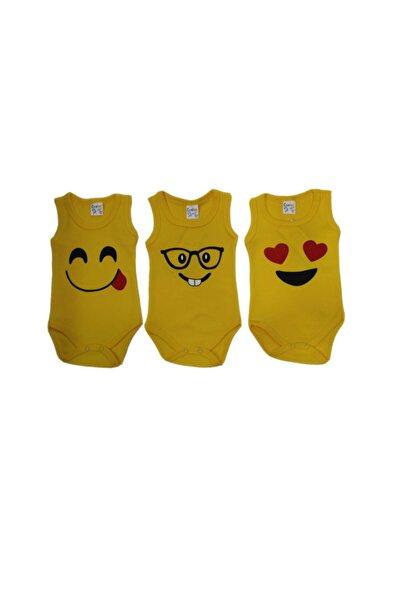 Unisex Çocuk Sarı 3-6-9-12-18 Ay Emojili 3 Adet %100 Pamuklu Çıtçıtlı Body