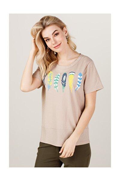 Kuş Tüyü Desenli Tişört