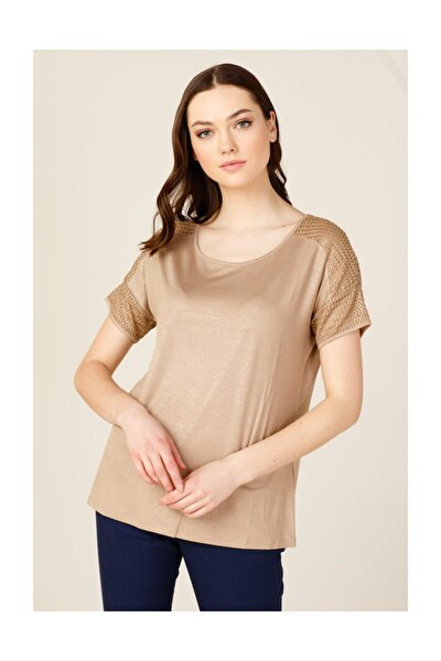 Kadın Sıfır Yaka File Detaylı T-shirt
