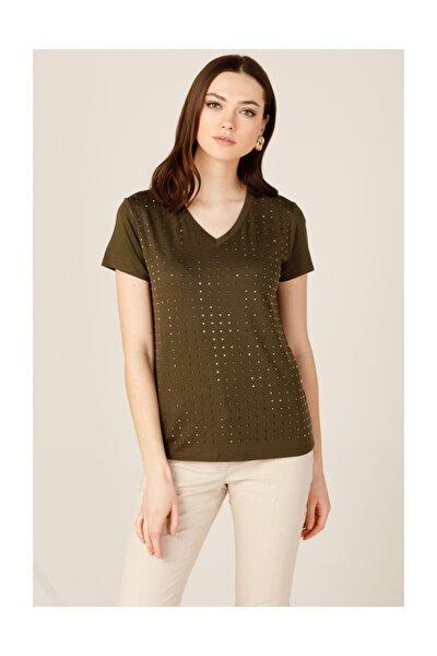 Kadın Haki Önü Küp Taşlı Tişört