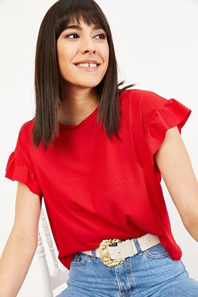 Kadın Kırmızı Kolu Fırfırlı Kaşkorse Bluz 10051015