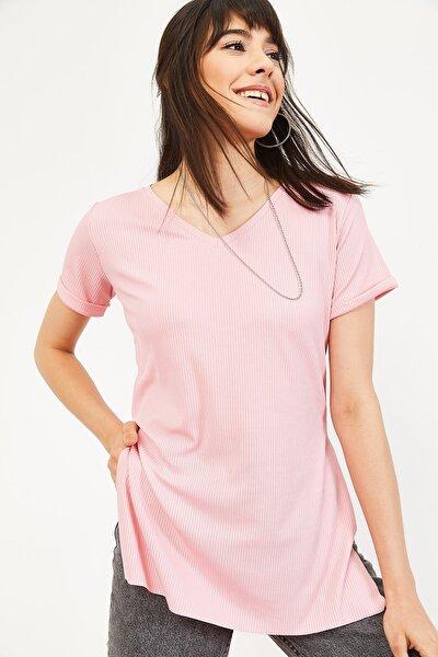 Kadın Pudra Kol Yan Yırtmaçlı Kol Detay Kaşkorse T-Shirt 10051012