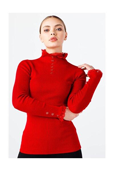 Kadın Kırmızı Dantel Detaylı Bluz