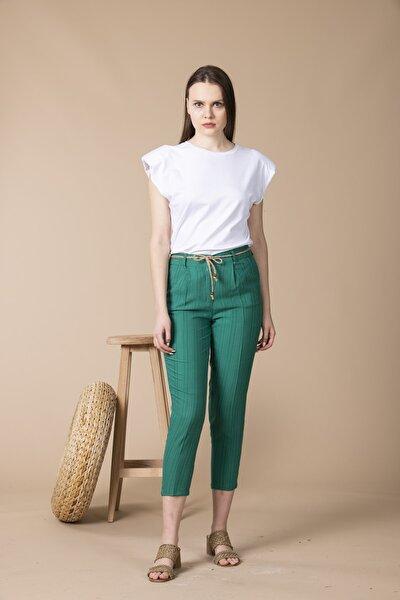 Yeşil Hasır Kemerli Kadın Tensel Pantolon