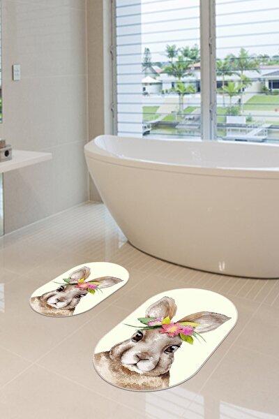 2'li Dijital Baskılı Kaymaz Tabanlı Happy Rabbit Banyo Paspası