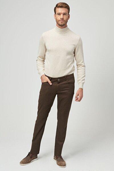 Erkek Kahverengi Slim Fit Desenli Pantolon