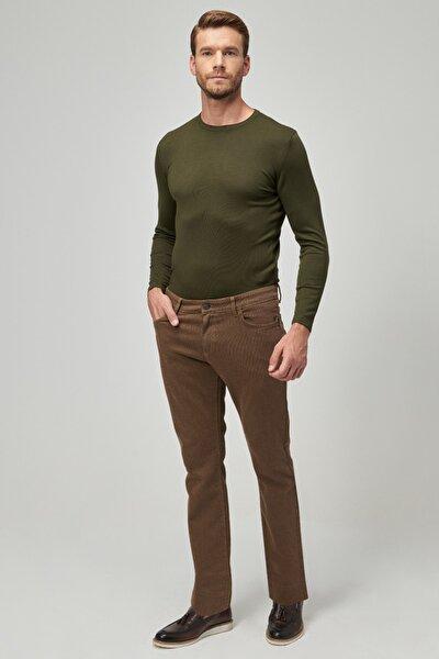 Erkek Camel Slim Fit Casual Pantolon