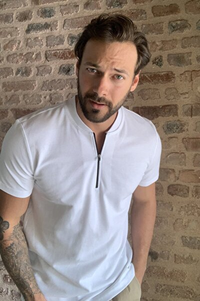 Beyaz Erkek Slim Fit Fermuarlı T-Shirt TMNSS20TS0966