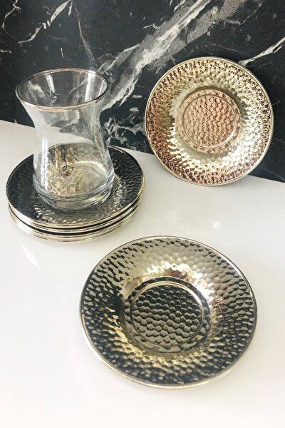 6'lı Dövme Desen Gümüş Metal Çay Tabağı