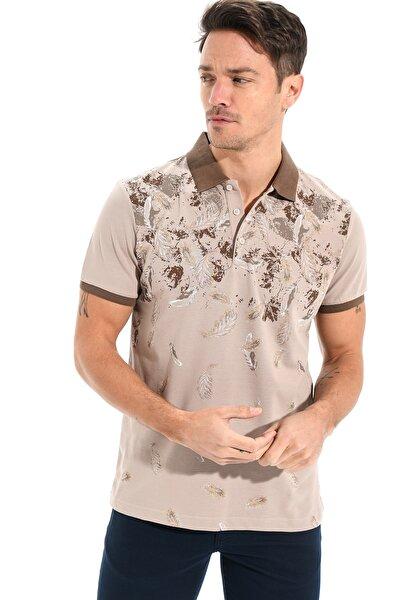 Polo Yaka Baskılı Pike T-shirt Koyu Gri