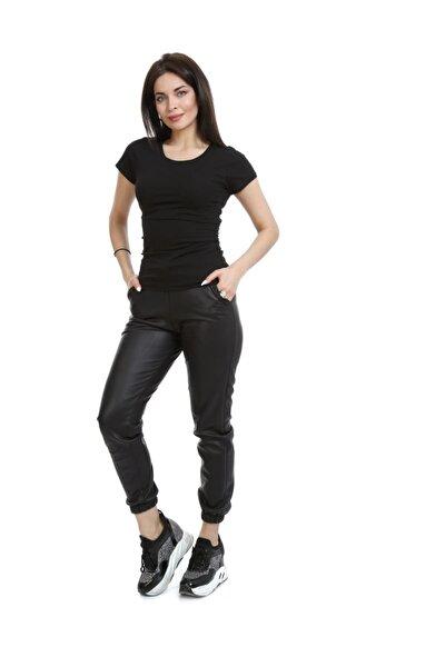 Kadın Siyah Jogger Suni Deri Pantolon