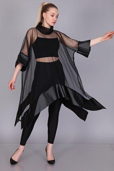 Kadın Siyah Tül Derili Bluz M&S5101Pnç