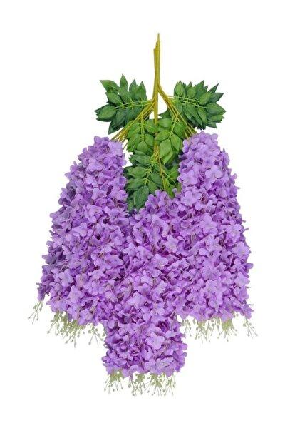 Sarkan Yapay Çiçek Akasya Mor 80 Cm 3 Sarkan Dallı 12 Adet Bağ