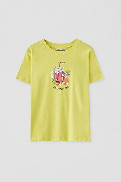 Kadın Limon Yeşili Kısa Kollu Görselli T-Shirt 05236368