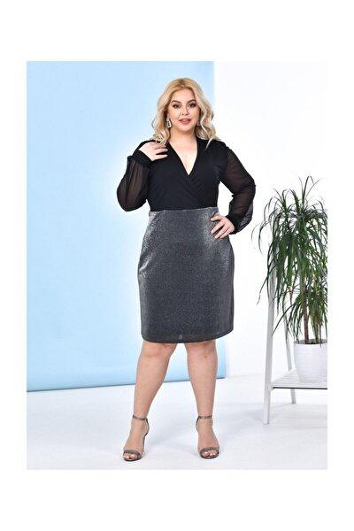 Kadın Giyim Büyük Beden Elbise Kruvaze Yaka