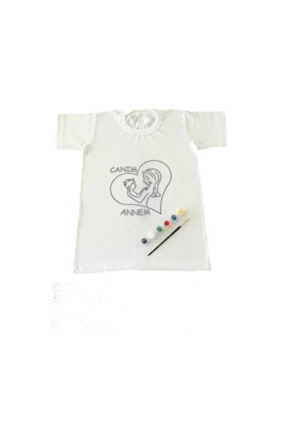 4-5 Yaş Tişört Boyama Seti Kumaş Boyama Canım Annem Çocuk Desenli