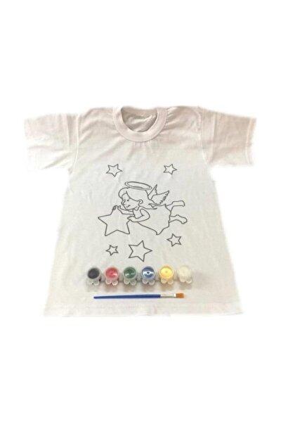 8-9 Yaş Tişört Boyama Seti+kumaş Boyama+melek Kız Desenli