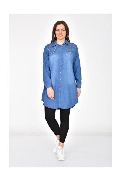 Kadın Omuz Taş Detaylı ve Püsküllü Koyu Mavi Tunik