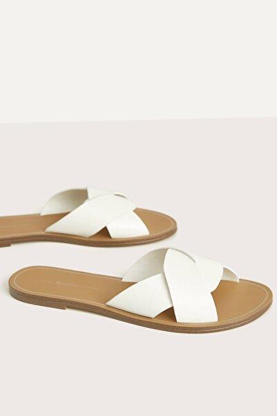 Kadın Beyaz Çapraz Bantlı Düz Sandalet 11800561