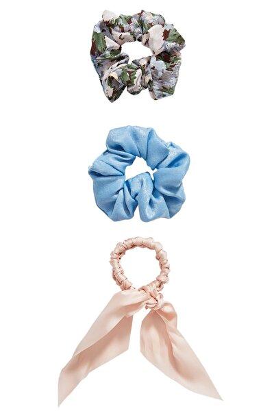Kadın Açık Mavi 3'Lü Çiçek Desenli Saç Lastiği Paketi 00239009