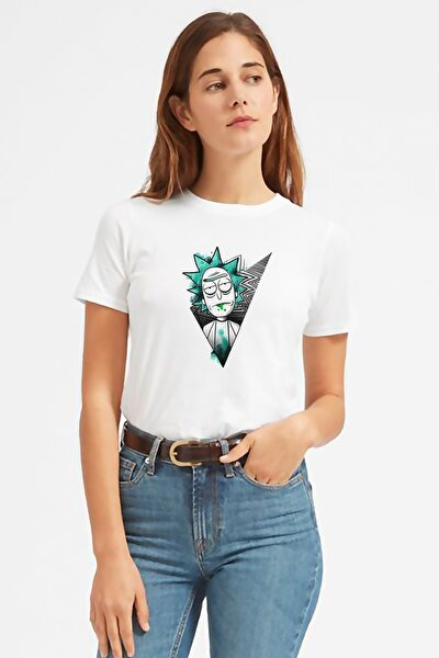 Rick And Morty V Baskılı Beyaz Kadın Tshirt