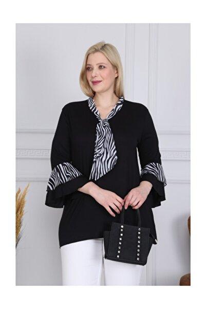 Siyah Zebra Şifon Flarlı Volankol Bluz