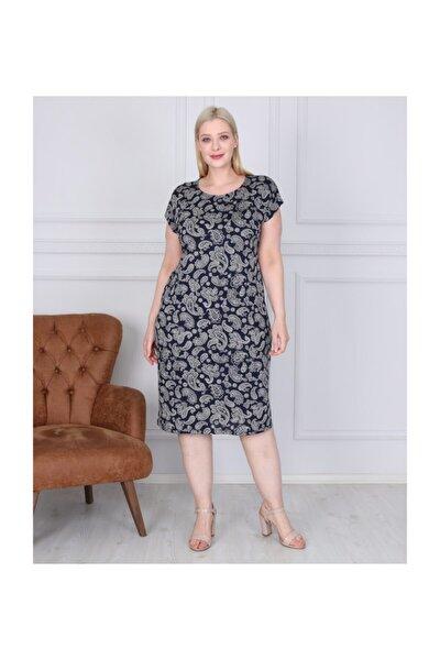 Kadın Lacivert Etnik Desen Büyük Beden Elbise