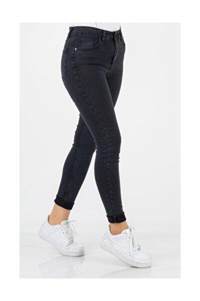 Kadın  Füme Likralı Kot Pantolon